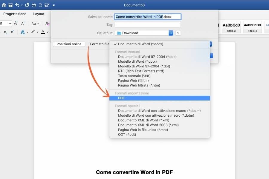 Convertire Word in PDF, la schermata di Word che mostra i passaggi cruciali.