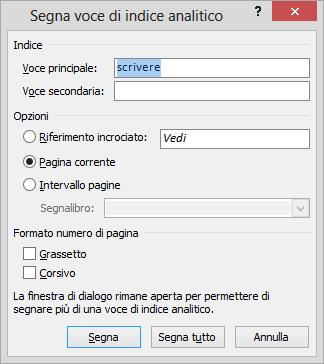 Marcare il testo per indice dei contenuti con Word
